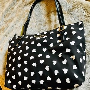 NWT Kate Spade Handbag (Black w/cream hearts)